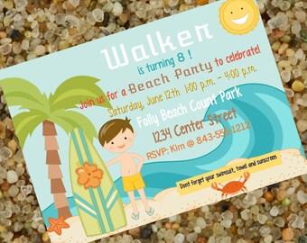 Surfer Boy, Beach Party Birthday, Surf Party Birthday! Personalized Invitation!