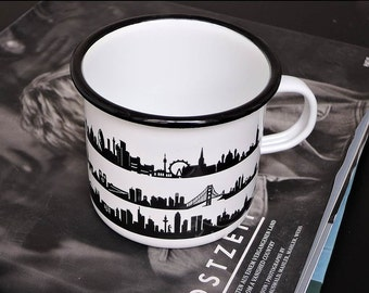 ENAMEL/METAL Camping Mug, modern skyline print, Backpacking Mug, outdoor gift, traveller mug, festivals, retro enamelware, longdrink gobelet