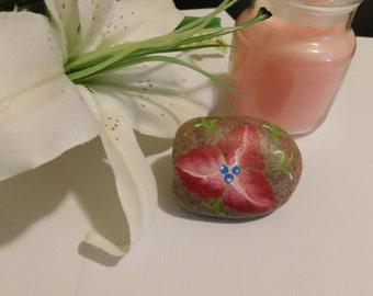 Thee petal flower hand painted rock