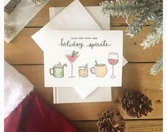 Holiday Spirits // holiday card, christmas card, greeting card, cute card, funny card, pun card, punny card, punny, holiday drinks, wine