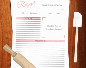 Rezeptvorlage zum Drucken // Printable recipe template // Kochbuch selber drucken // Backrezepte // Kochrezepte downloaden