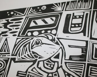 PUFFIN. Hand printed limited lino cut. Original artwork.