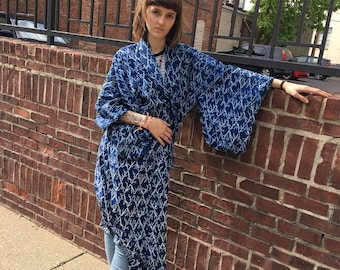 1960s navy handmade kimono