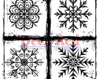 Deep Red Cling Rubber Stamp Rubber Stamp Frosted Snowflakes
