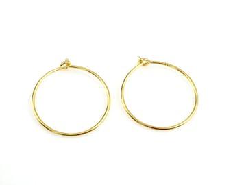 22K Gold plated Sterling Silver Hoop Earrings, 15mm Earring Hoops, Gold Vermeil Earwire -Wholesale Bulk Earring Findings- Sku: 203008-15-VM