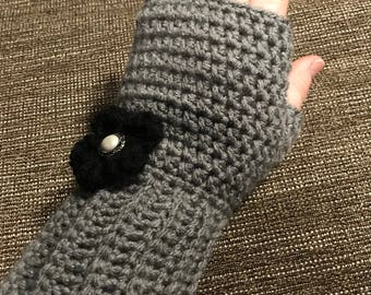 Super cute grey fingerless gloves /wrist warmers with black flower