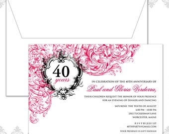 Vintage Anniversary Party Invitation