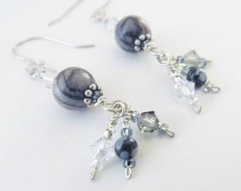 Gray Black Dangle Earrings Crystal Sterling Silver Earrings Gemstone Sterling Silver Dangles