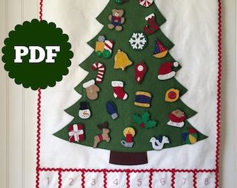 FELT CHRISTMAS TREE calendar pattern -- advent Christmas ornaments -- countdown -- felt advent calendar -- advent pattern