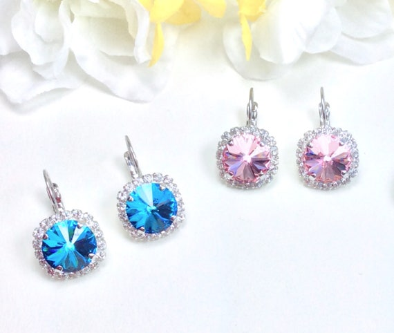 Swarovski Crystal 12MM Drop Earrings- With Clear Crystal Halo  - Your Favorite Color & Finish - Pure Sophistication - FREE SHIPPING