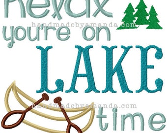 Relax you're on LAKE time embroidery hand towel  - Choose your towel color