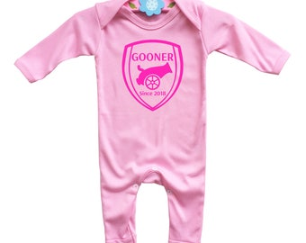 Baby's Gooner customized pink rompasuit bodysuit Gooner since the day baby born.