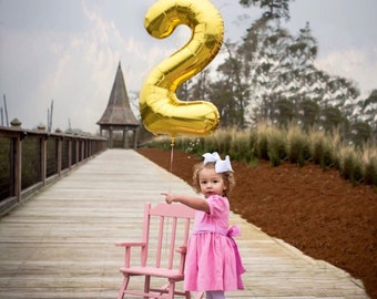 """34"""" Number 2 Gold Rose Gold Silver Mylar Balloon - Number 2 Balloon - Two Balloon - Second Birthday Decor - Second Birthday Photo Prop - 2"""