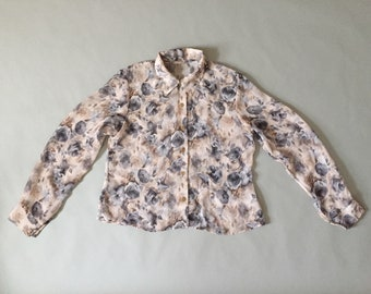 GRAY ROSES sheer blouse | oversized poet blouse | gray and beige muted floral blouse