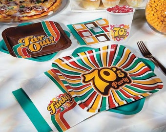 My 70's Party Dinner Plates / Party decorations / 70's theme party /  70's