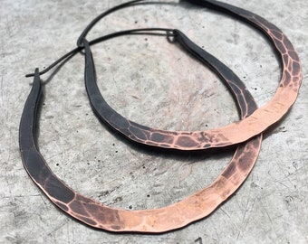 Ombre Hoop Earrings, Large Hoops, Copper Hoop Earrings, Small Hoop Earrings, Daniellerosebean, Copper Jewelry, Large Hoop Earrings