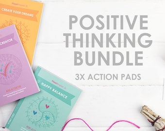 Mini Action Pads bundle - a powerful holistic stationery set for mindful manifesting, self care and creating positive beliefs!