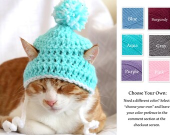 Hat for Cats, Crochet Puffball Hat for Cats and Toy Dog Breeds, Cat Accessories, Winter Beanie for Cats and Small Dogs, Cat Photo Prop