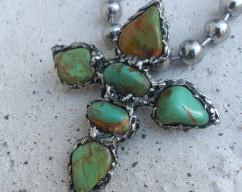 Turquoise Cross Necklace~Statement Jewelry~Navajo Accessories~Native American Jewelry