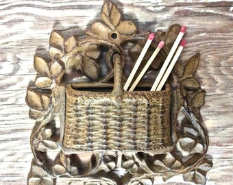 Vintage Cast Iron Match Holder Wall Mount, Wicker Basket in a Tree Design