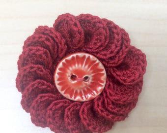 Crochet brooch, button brooch, crochet pin