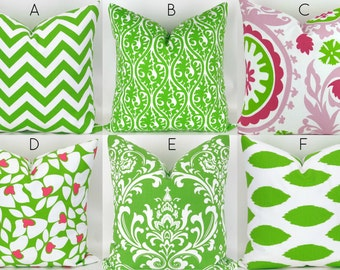 Lime Green Pillow Cover - 18x18 - Mix/Match chartreuse green throw cushion euro sham ikat suzani zigzag chevron damask custom Premier Prints
