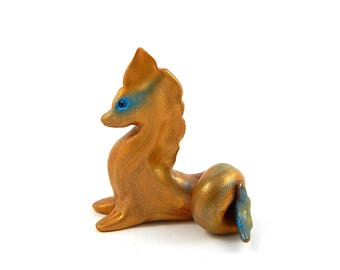 Golden Blue-Streaked Hippocampus Figurine, Hand-Sculpted Sea Serpent, Polymer Clay Fantasy Creature