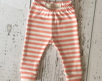 Organic Baby leggings, baby girl leggings, infant leggings, printed leggings, organic baby, stripe leggings