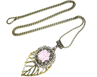 long holder photo necklace, medallion photo necklace, bronze vintage, french jewelry