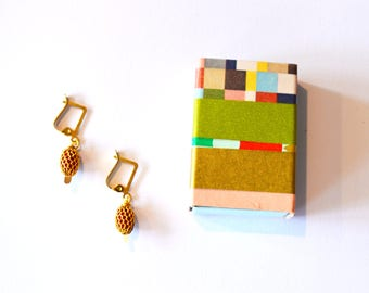 Red Gold Earrings / Red Gold Fishnet Earrings / Gift Box Earrings / Gold Red Earrings in Matchbox Jewelry Gift Box Decorated w/ Washi Tape