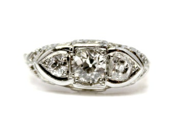Sale! Art Deco White Gold Three Stone Diamond Ring (Approx 1ctw)