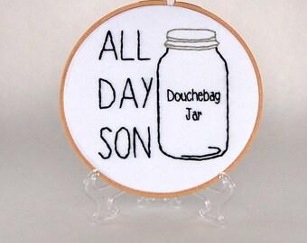 New Girl Hoop Art- Schmidt - All Day Son - Douchebag Jar - Jessica Day - 6 inch