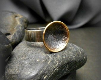 Small Handmade Sterling Silver and Bronze Ring with Countoured Disk