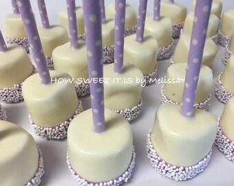 Double Dipped Marshmallow Pops (Vanilla) - 1 dozen - Baby Shower, Baptism, Bridal Shower, Birthday
