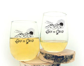 Wine Glasses - Off the Grid - Stemless Wine Glasses - Set of Two Wine Glasses 17oz.