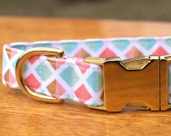Gold Dog Collar - Girl Dog Collar - Girly Dog Collar - Female Dog Collar - Fabric Dog Collar - Unique Dog Collars - Modern Dog Collar