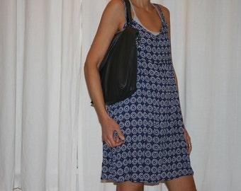 Leather Bag, Vegan Leather Bag, Tote Bag,  Handmade Bag, Black Bag, Floral Cotton Bag, Vegan Leather Hand Bag,