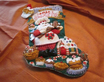 "Bucilla Completed  18"" felt stocking ""Santa's Sweet Shop"""