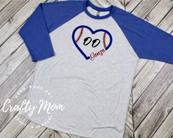 Baseball Shirt, Personalized Baseball Fan Raglan Shirt with Player Number, Baseball Raglan