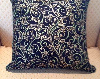 Saint Patrick Day pillow cover with black, green, and gold swirls