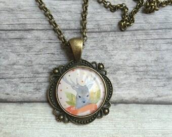Glass pendant, Deer necklace, Charm Necklaces, Woodland Necklace, Bronze Necklace, Romantic necklace, Bronze chain, Watercolor floral charm