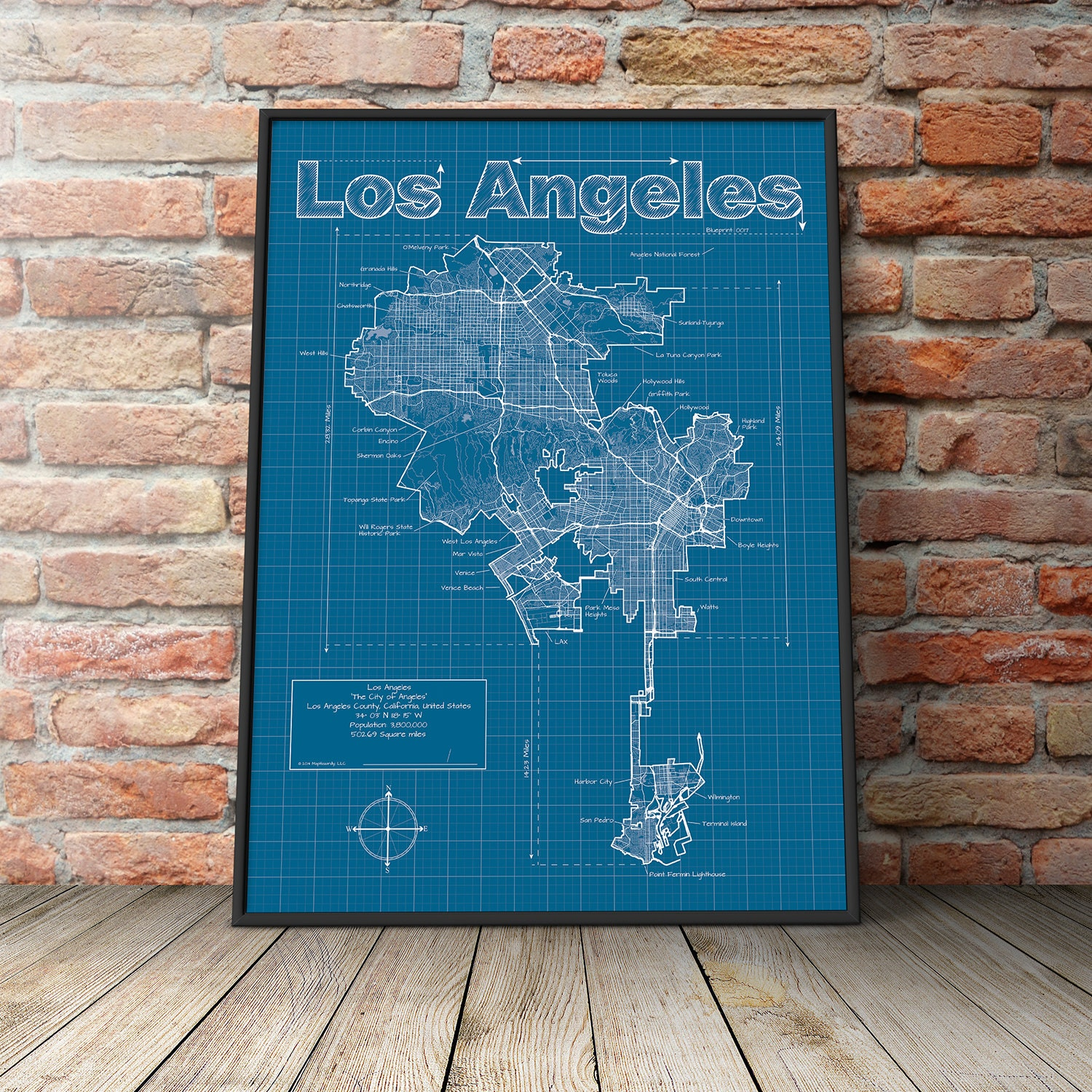 Los angeles map original artwork los angeles map art zoom malvernweather Choice Image