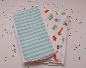 Burp cloth set, caterpillar, lady bug, bee, snail, stripes, gender neutral, baby gift