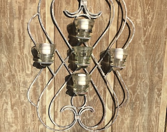 Metal candle holder, vintage insulator,wedding candle holder, rustic candle holder,candelabra, hanging candle,scroll,glass candle holder,