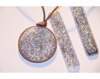 Hologram necklace etsy holographic necklace silverround mozeypictures Images