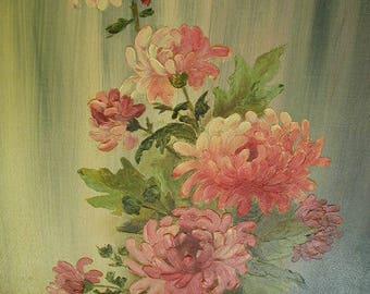 "Vintage Original Naive Oil Painting, Original Oil Painting, Pink Chrysanthemums in Vase,  12 x 16"",  Shabby Cottage"