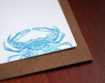 Crab Letterpress Notecard Set