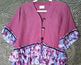 M/L Burgundy Boho Gypsy Jacket