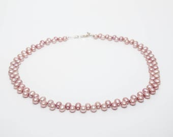 Dyed peach rice pearl necklace