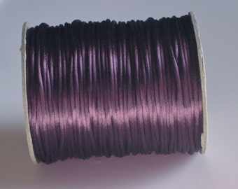 Dusty Plum Purple Rattail Satin Cord 2mm 3 yards